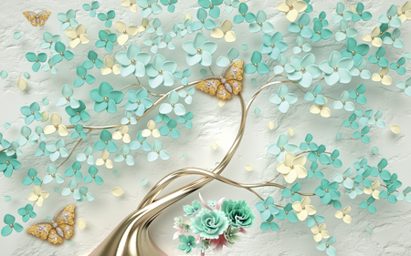 3d wallpaper abstract floral background with green flowers and golden butterfly Banco de Imagens