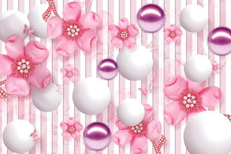 3D Wallpaper Design with Floral and Geometric Objects gold ball and pearls, gold jewelry wallpaper purple flower