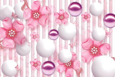 Diseño de papel tapiz 3D con objetos florales y geométricos bola de oro y perlas, papel tapiz de joyería de oro flor morada