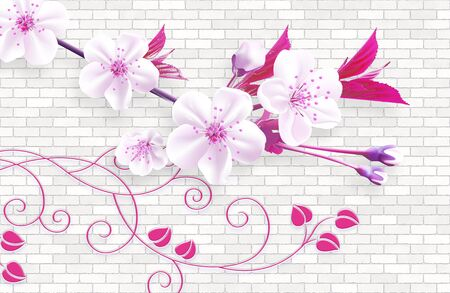3d wallpaper mural abstract background with wall bricks and pink flowers green branch 版權商用圖片