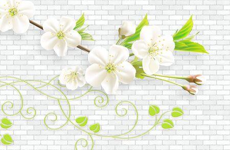 3d wallpaper wandbild abstrakter hintergrund mit wandziegeln und rosa blumen grüner zweig