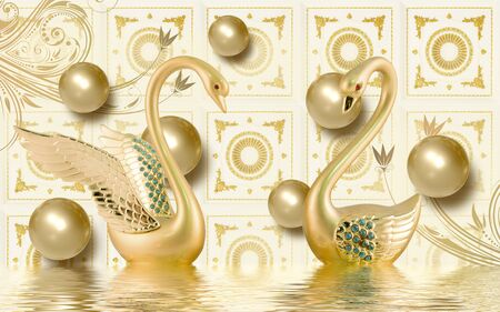 3d mural illustration Golden swan on water with decorative floral background Jewelery, 3d ball