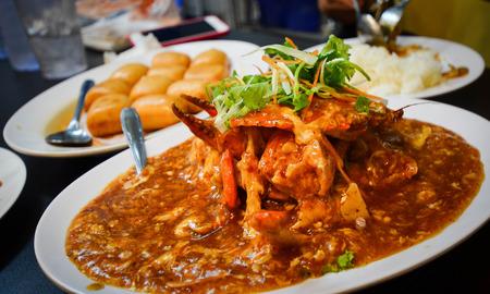 crabs: Chilli crab, famous Singaporean dish
