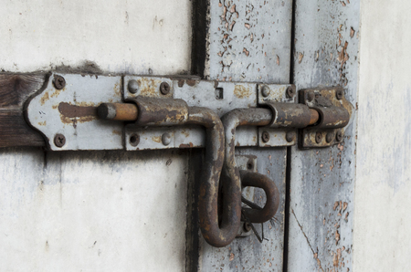 furniture part: Old door bolt have rust which unlock.