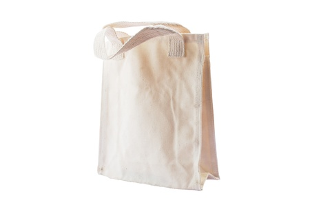fabric bag: white fabric bag , recycle bag made from cotton Stock Photo