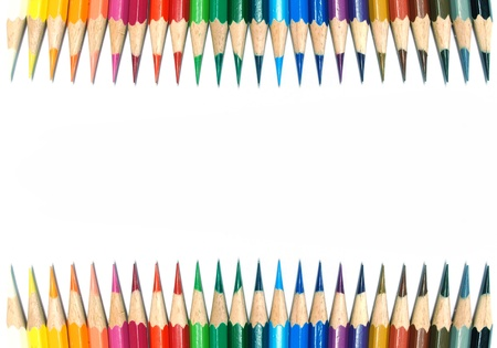 pestel: 24 Colored pencils on white background Stock Photo