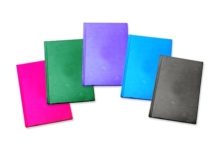 colorful notebook on white background , have blank on cover for type your text on notebook photo