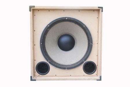 tercet: old loudspeaker made from wood , loudspeaker on white background