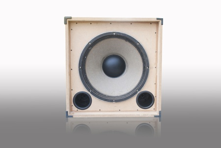 tercet: old loudspeaker made from wood , loudspeaker on white background