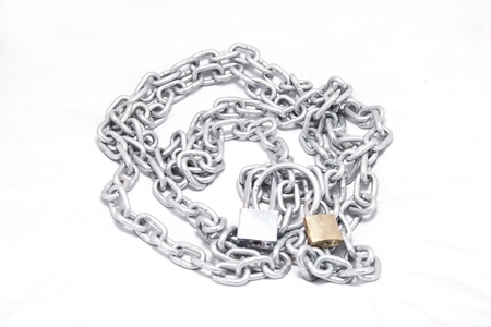 manacle: steel chain and key isolate on white background