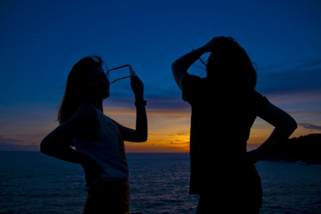 posting: silhouettes girls posting Stock Photo