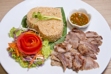 Fried rice with roast pork photo