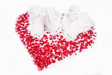 elephants towel and heart rose photo