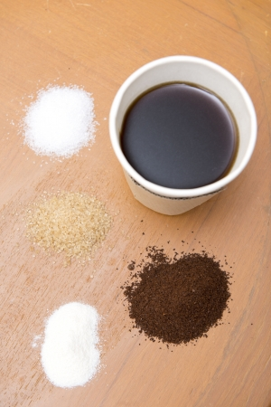 creamer: Ingredient of coffee,sugar,creamer and coffee for drink Stock Photo