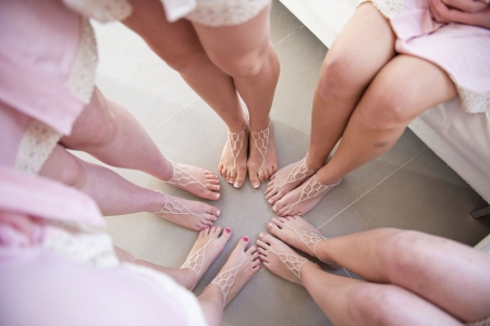 beautiful barefoot sandals for bride in beach wedding ceremony  photo