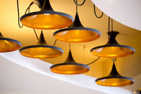 new beautiful modern lamp on the ceiling