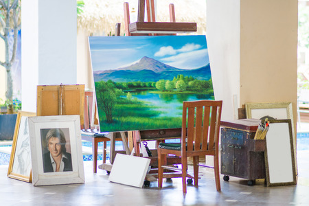 avocation: Drawing boards in art corner for artist, Oil Painting