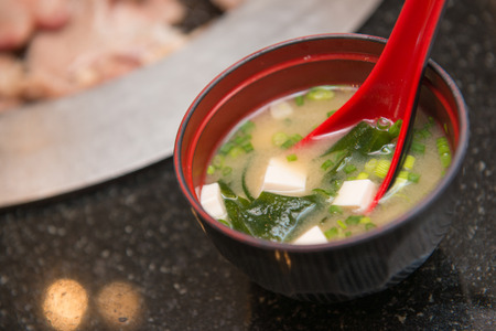 hot miso soup with seaweed, japanese food