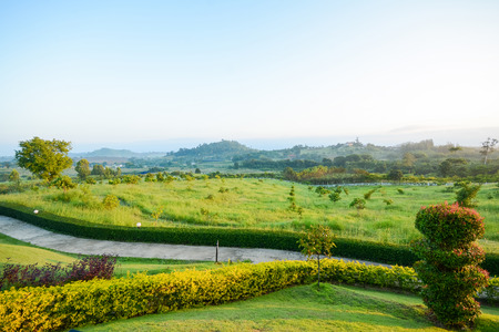 nam: beautiful view in morning from Wang nam keaw ; Thailand , Travel Stock Photo