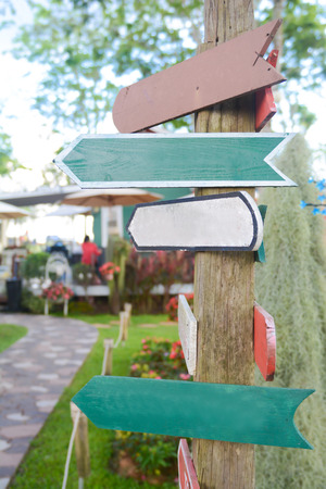 tally: blank wood Signs in garden, tally Stock Photo