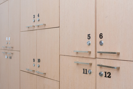 changing room: wood locker in changing room, safety Stock Photo