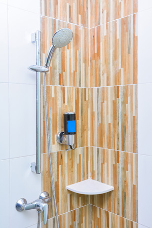 liquid soap: Shower and liquid soap in bathroom, home