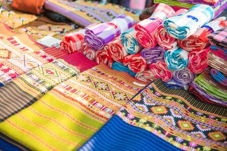 colorful of thai silk, textile