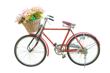 hand basket: red classic bike with flower in basket isolate on white background