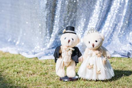 Bride and groom teddy bear in wedding day photo