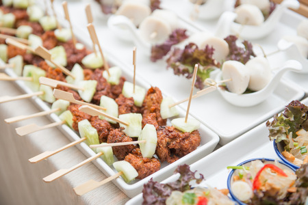 catering: catering services on table at wedding party, food Stock Photo