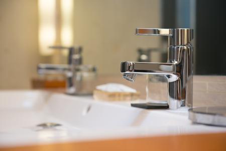 washbasin: Modern washbasin in a luxury hotel, restroom