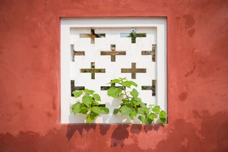 vents: Tree growth through white air vents on the red wall Stock Photo