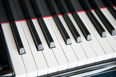 keyboard music: close-up of piano keyboard, music