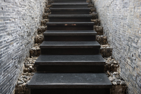 Marble staircase with stone wall, architecture