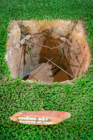 by cu: Ho Chi Minh City, Vietnam Mar 17: trap from the Vietnam war at Cu Chi tunnels on March 17, 2014 Vietnam