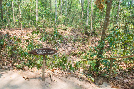 by cu: Ho Chi Minh City, Vietnam Mar 17: B25 bomb crater from the Vietnam war at Cu Chi tunnels on March 17, 2014 Vietnam Editorial
