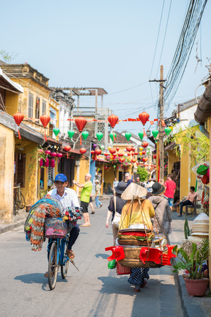hoi an: Hoi An - Vietnam Mar 16 :  vietnamese is cycling bicycle in Hoi An ancient town on Mar 16, 2015 Vietnam