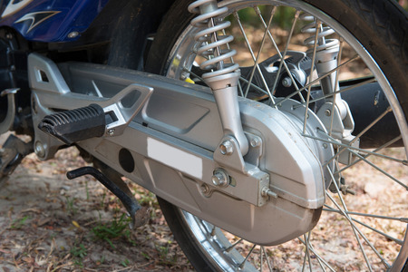 bike cover: Stainless Steel Motorcycle Chains in cover, part of bike