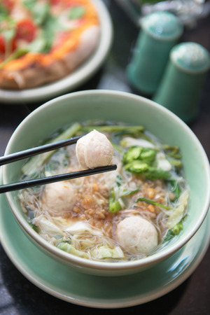 thai noodle soup: meatballs with thai noodle soup, food