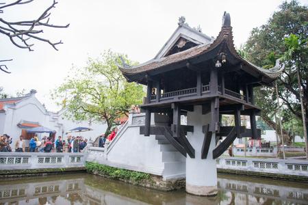 mot: Hanoi, Vietnam Mar 12:: The One Pillar Pagoda or Chua Mot Cot is a historic Buddhist temple in Hanoi on March 12, 2015 Vietnam