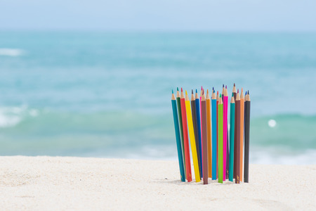 crayon wood color on the beach, stationery
