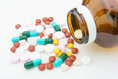 drug use: various tablets pills for different therapy, drug Stock Photo