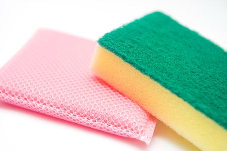 dishwashing: Sponges for dishwashing on white background, cleaning