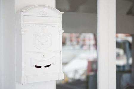 mail box: white ancient mailbox for letter, mail box Stock Photo