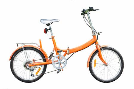 orange folding bicycles on white background, bike Stock Photo