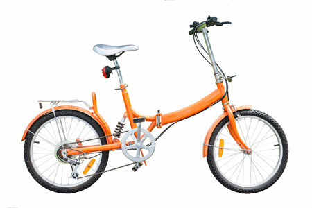 orange folding bicycles on white background, bike Фото со стока