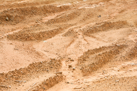 an excavation: laterite soil excavation site for sale, construction Stock Photo