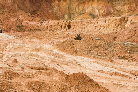 soil: laterite soil excavation site for sale, construction Stock Photo