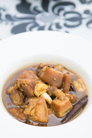 phuket food: local food of Phuket in restaurant, pork hong sauce Stock Photo