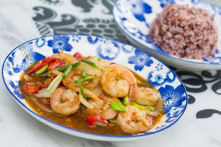 phuket food: local food of Phuket in restaurant, Shrimp paste fried Sato